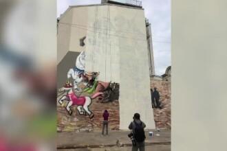 Zidul care imparte Romania: ce se intampla acum dupa ce desenul cu Sf. Gheorghe a fost acoperit
