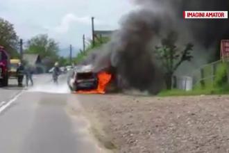 Sperietura teribila traita de un sofer din Suceava a carui masina a luat foc in timpul mersului