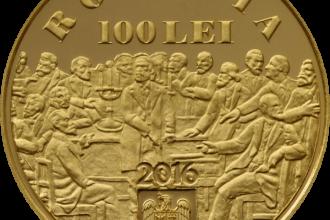 BNR a lansat o moneda din aur, care are valoarea nominalade 100 de lei. FOTO