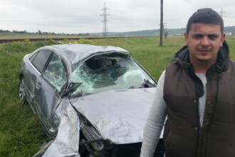 A dat 7000 de euro pe un Audi A8 iar la trei zile l-a facut praf. Cum a scapat soferul doar cu o vanataie. VIDEO
