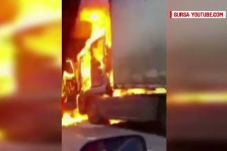 Incendiu violent pe Valea Oltului. Cabina unui TIR a izbucnit in flacari, iar soferul s-a salvat in ultima clipa