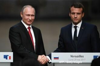 Macron, sfidator la intalnirea cu Putin. A numit 2 televiuni ruse