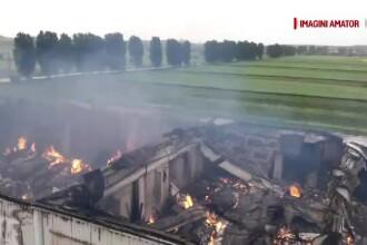 Pompierii se lupta de 3 zile sa stinga incendiul de la depozitul de arhivare din Ilfov. Sute de mii de dosare au ars