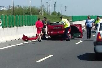 Accident grav pe Autostrada Soarelui. Femeie rănită, dusă cu elicopterul la spital