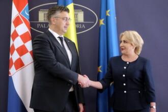 """""""Make a photo?"""". Viorica Dăncilă, 4 gafe în câteva minute la întâlnirea cu omologul croat"""