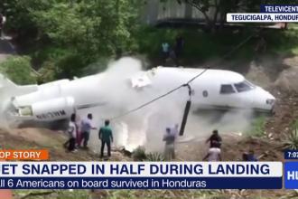 Un avion s-a rupt în două, după aterizarea pe un aeroport din Honduras. Șase persoane, rănite