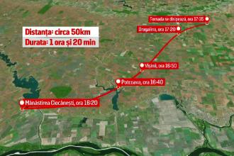 """ANIMAȚIE GRAFICĂ. Traseul furtunii din Călărași. De ce nu avem """"vânători de tornade"""""""
