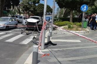 Momentul în care un vehicul-capcană a explodat la Haifa. Sunt cel puțin 2 răniți. VIDEO