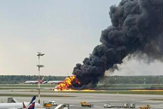 Avionul cu pasageri care a luat foc pe aeroport în Moscova. Bilanțul morților revizuit la 41