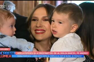 Adela Popescu și-a botezat cel de-al doilea băiat. Imagini din biserică. VIDEO