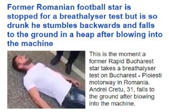 Un fost rapidist a ajuns în tabloidele britanice. Ce s-a întâmplat când l-a oprit poliţia