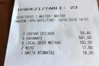 591 de euro pentru 6 bucăți de calamar, la un restaurant grecesc. Nota finală a fost de 836 euro