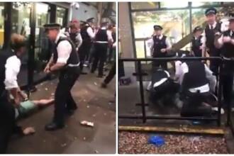 Român pus la pământ și bruscat de polițiștii britanici, la Londra. Oamenii au aruncat cu obiecte