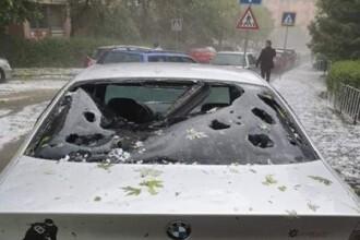 Grindina a făcut dezastru în Sălaj: oameni răniți și mașini avariate