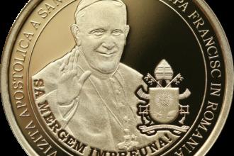 BNR lansează două monede cu Papa Francisc. Una va ajunge în circulație. FOTO