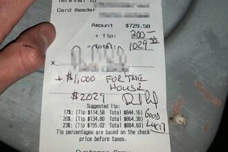 Un american a lăsat bacșiș de 1.300 de dolari la un restaurant. Cum și-a explicat bărbatul gestul