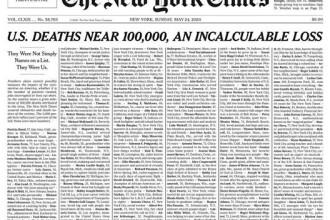 New York Times şi-a umplut prima pagină cu numele persoanelor ucise de Covid-19