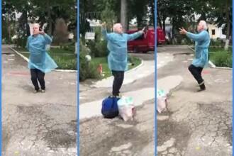 Dansul bucuriei: reacția unui gorjean care a ieșit din spital vindecat de Covid