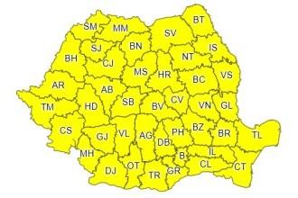 Cod galben în toată ţara: Rafale de vânt de până la 80 de km/h. Zonele lovite de ploi puternice