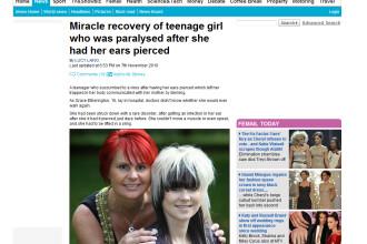 Socant! A paralizat dupa ce si-a facut piercing in ureche!