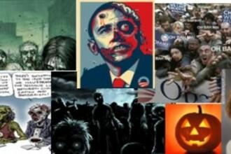 FOTO. Gluma de Halloween care a scandalizat toata America. Barack Obama, un zombie impuscat in cap