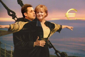 Merkel si Sarkozy pe Titanicul elen. Filozofia lui Papandreou despre Grecia, exprimata in Photoshop