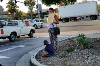 Aveti grija cui dati bani! In SUA, o femeie gravida a fost filmata in timp ce era luata de la cersit cu un Mercedes