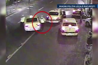 Scene incredibile surprinse de o camera video. Un politist, agatat de usa unui taxi, a fost tarat in trafic de soferul nervos