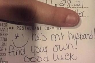 In loc de bacsis, a primit de la o clienta geloasa un bilet cu un mesaj rautacios. Raspunsul chelneritei a devenit viral