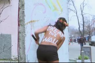 Activistele FEMEN din Ucraina au protestat la bustul gol, nemultumite ca nu pot calatori in UE fara vize
