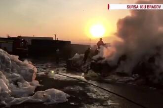 Interventie grea a pompierilor la un depozit plin cu deseuri de hartie si plastic din Codlea, judetul Brasov