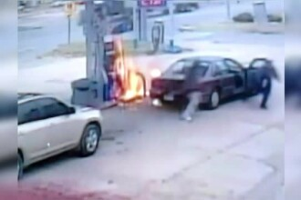 Un şofer a dat foc benzinăriei încercând să alimenteze în timp ce fuma