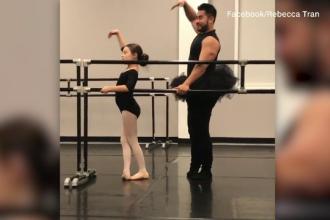 Un culturist s-a îmbrăcat ca o balerină pentru a fi alături de fiica sa