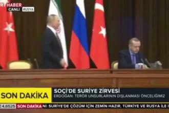 Gafa lui Putin la întâlnirea cu liderii Iranului și Turciei. A trântit scaunul lui Erdogan. VIDEO