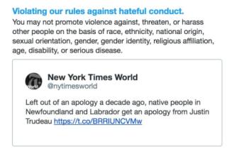 Contul de Twitter al publicației New York Times, blocat din cauza unei postări despre Justin Trudeau
