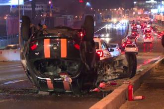 Mașină de 200.000 de euro, distrusă pe DN 1, aproape de București. VIDEO