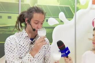 Reacţia unui străin când bea pentru prima dată lapte românesc.