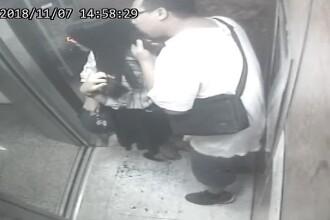 Imagini șocante surprinse în liftul unui bloc de locuințe. Ce i-a făcut un bărbat unei femei