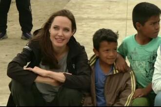 Angelina Jolie, ambasador onorific al ONU, în vizită la o tabără de refugiați din Venezuela