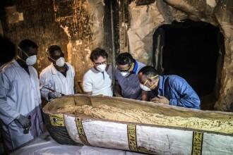 Descoperiri uriașe din epoca Egiptului Antic. Arheologii au prezentat conținutul unui sarcofag