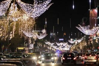 Luminițele din București au fost aprinse, pe un traseu de 40 de kilometri. VIDEO