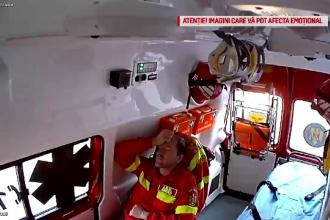 Scene tulburătoare din ambulanța răsturnată în Pitești. Filmare din timpul impactului