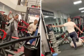 Bătaie în toată regula la o sală de fitness. Un bărbat a fost lovit cu o bară de metal în cap