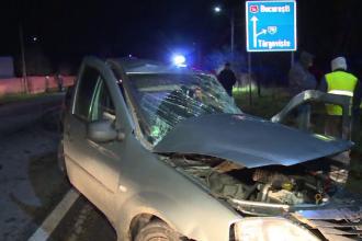 Gravidă în stare critică, după ce mașina în care se afla a fost spulberată de un camion