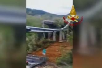 Un pod de pe o autostradă s-a prăbușit în Italia, în apropierea orașului Savona. VIDEO