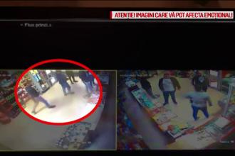 Momentul în care un tânăr este lovit cu o sticlă și înjunghiat, într-un magazin din Hârșova