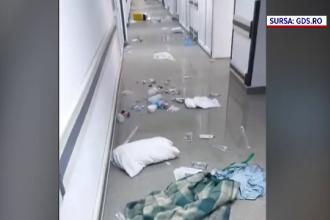 VIDEO. Un pacient cu Covid-19 a distrus tot ce i-a ieșit în cale, într-un spital din Craiova