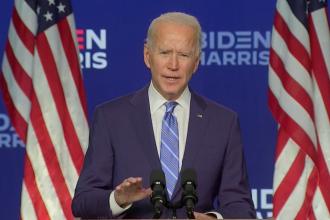 """Rezultate alegeri SUA 2020. Joe Biden: """"Obținem suficiente state pentru a atinge pragul de 270 de voturi"""""""