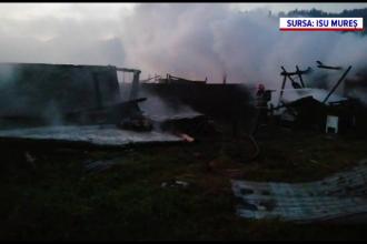 Trei case din Mureș, distruse de un incendiu. Au intervenit pompieri din două județe