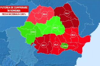 Polurile sărăciei din România. Zonele cu cele mai mici salarii în raport cu prețurile